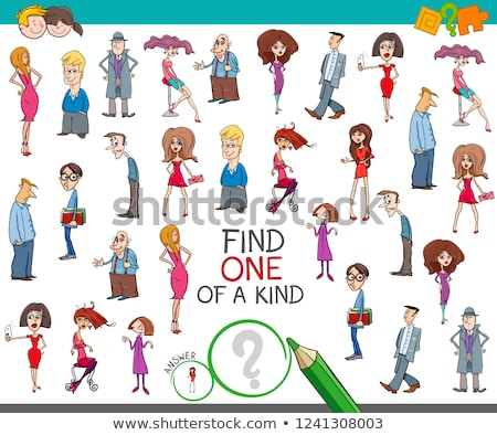 one of a kind game with cartoon children characters stock photo © izakowski