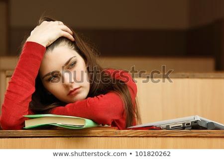 W górę student biblioteki szkoły smutne Zdjęcia stock © HighwayStarz