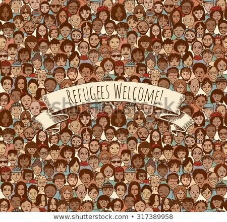 Imigração refugiado vetor fino linha Foto stock © pikepicture