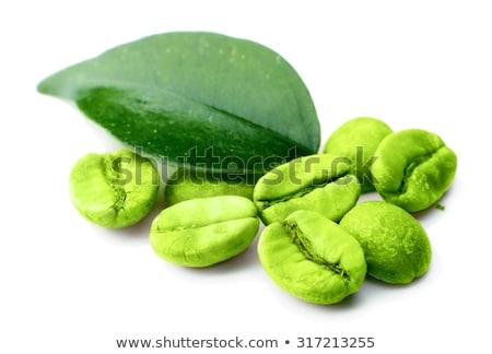 Koffiebonen groene bladeren geïsoleerd witte Stockfoto © ThreeArt