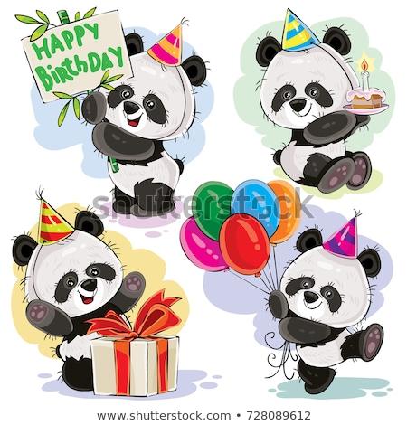 Oyuncak ayı turta doğum günü tebrik kartı gıda mutfak Stok fotoğraf © balasoiu