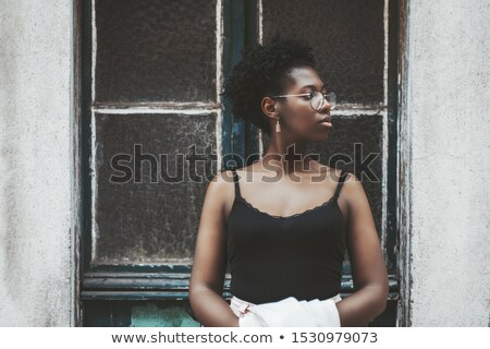 woman near old wall Stock photo © chesterf