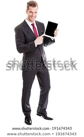 hombre · de · negocios · puntos · dedo · guapo · jóvenes · negocios - foto stock © feedough