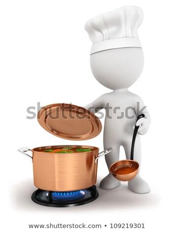 3d · kişi · tava · hazırlık · lezzetli · besleyici · gıda - stok fotoğraf © karelin721