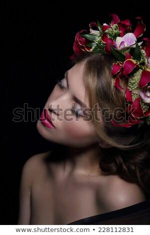 Elegance. Bliss. Dreamy Woman with Wreath of Flowers Stock photo © gromovataya