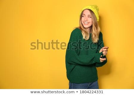 Vrouw wollen trui gebreid hoed Stockfoto © HASLOO
