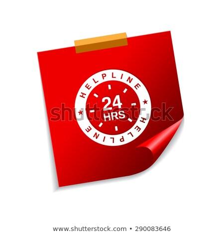 24 línea de ayuda apoyo rojo notas adhesivas vector Foto stock © rizwanali3d