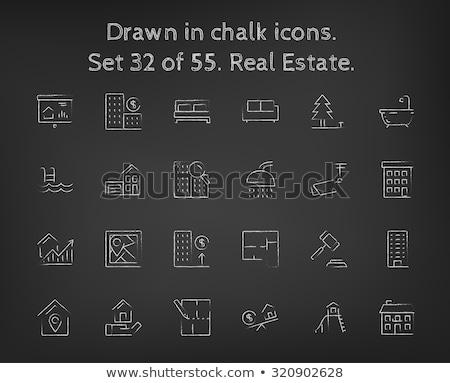 Layout maison craie icône dessinés à la main Photo stock © RAStudio