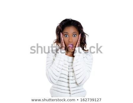удивленный африканских женщину свитер молодые Сток-фото © deandrobot