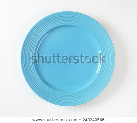 Foto stock: Azul · jantar · prato · branco · concêntrico · círculos