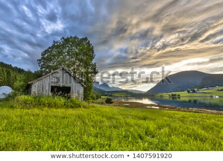 old house at a fjord in norway Stock photo © compuinfoto