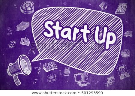 Start omhoog cartoon illustratie paars schoolbord Stockfoto © tashatuvango