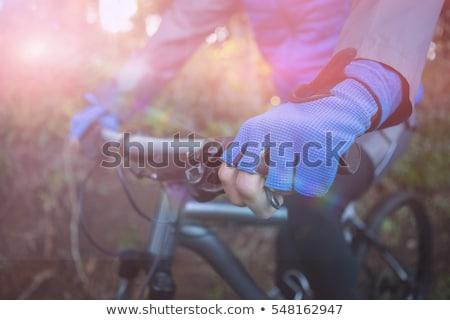 Stock fotó: Férfi · motoros · hegyi · kerékpár · erdő · vidék · fitnessz