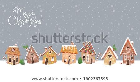пряничный дома дерево фон черный Сток-фото © Alex9500
