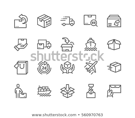 Logisztika teher szállítás vonal ikonok ikon gyűjtemény Stock fotó © soleilc