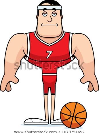 Rajz unatkozik kosárlabdázó néz kosárlabda labda Stock fotó © cthoman