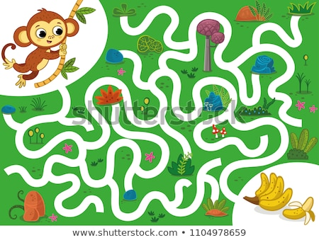 maze game with monkeys and forest stock photo © colematt