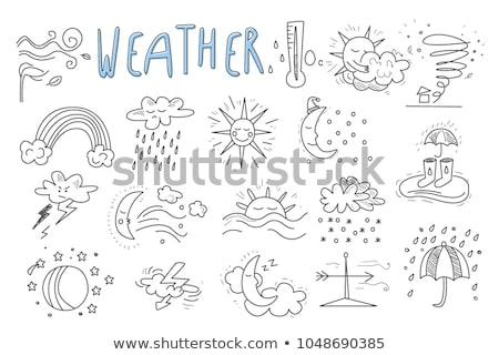 Umbrella with rain hand drawn outline doodle icon. Stock photo © RAStudio