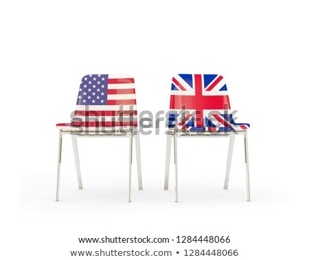 Two chairs with flags of UK and US isolated on white Stock photo © MikhailMishchenko