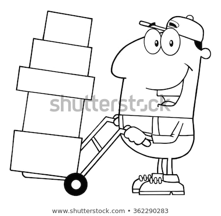 Black And White Delivery Man Cartoon Character Using A Dolly To Move Boxes Stock photo © hittoon