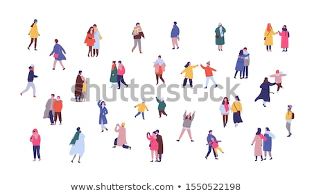 Walking Crowd of People in Wintertime Set Vector Stock photo © robuart
