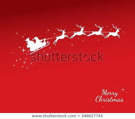 Mikulás lovaglás szánkó piros sablon illusztráció Stock fotó © colematt