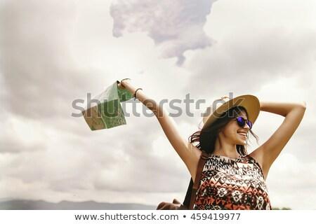 Adventure девушки чемодан плоскости Сток-фото © Genestro