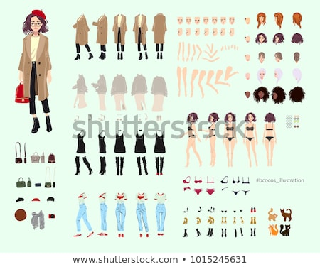 Animate character. Young lady personage constructor. Different woman postures, face, legs, hands, ac Stock photo © bonnie_cocos