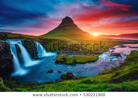 Cascade coucher du soleil scène illustration soleil fond Photo stock © bluering