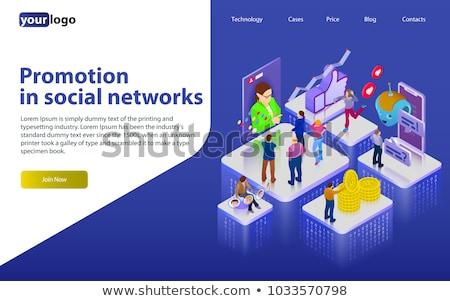 Sociale netwerken promotie app interface sjabloon gebruikers Stockfoto © RAStudio