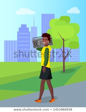 African weiblichen Fuß Radio Stadt Vektor Stock foto © robuart