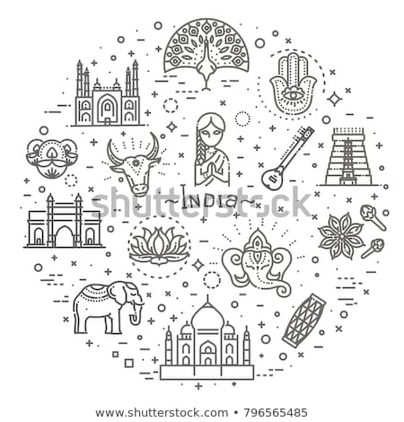 India Travelling Banner. Indian Landmarks on hand Stock photo © robuart