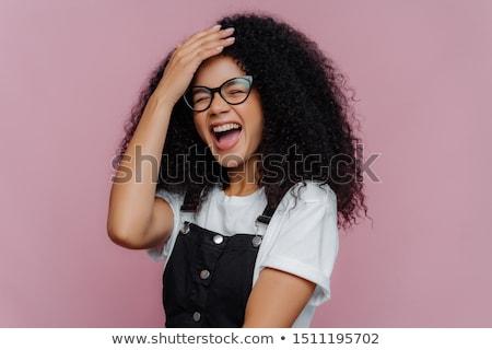 Satisfeito mulher mão testa felicidade Foto stock © vkstudio