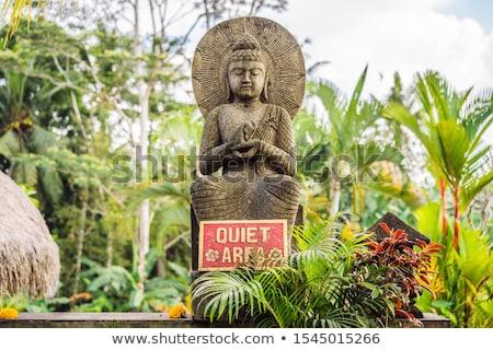 A sign QUIET AREA in a quiet corner of the garden Stock photo © galitskaya