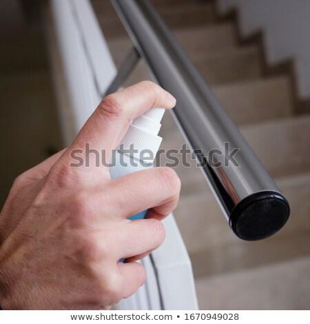 Férfi korlát lépcsőfeljáró közelkép kaukázusi bent Stock fotó © nito