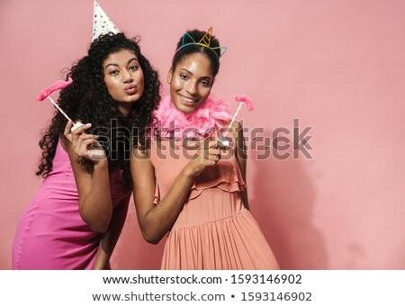 Imagen alegre mujeres diversión Foto stock © deandrobot