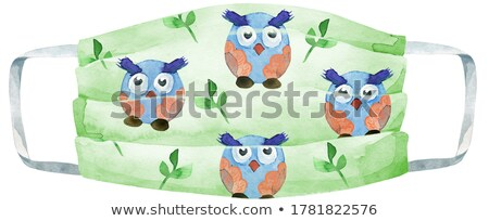 Medical protective mask with owls on white background, Prevent Coronavirus, protection factor for vi Stock photo © Natalia_1947