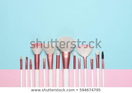 Sminkecset szett bőr borító közelkép fotó Stock fotó © Novic