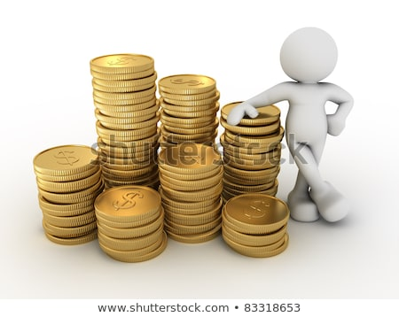 3d Man And Stack Of Coins Stock fotó © CoraMax