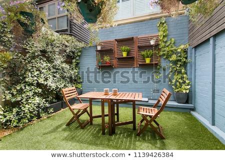 güzel · parlak · yerleşim · oturma · odası · tablo · otel - stok fotoğraf © 3523studio