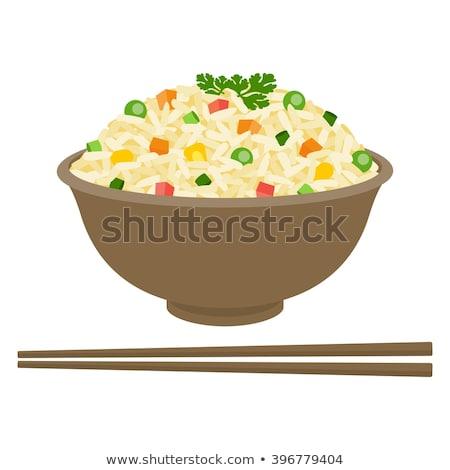 tigela · arroz · camarão · madeira · fundo · jantar - foto stock © M-studio
