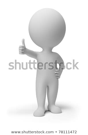 The 3D little man with a sign. Stock photo © karelin721