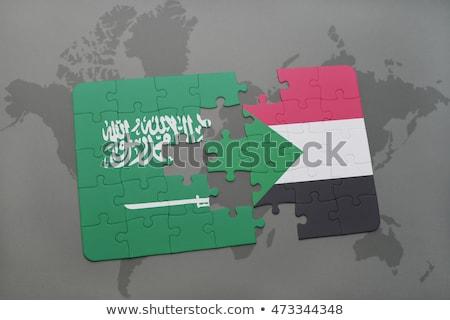 Szaúdi zászlók puzzle izolált fehér üzlet Stock fotó © Istanbul2009