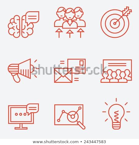 Gondolkodik piros vektor ikon terv digitális Stock fotó © rizwanali3d