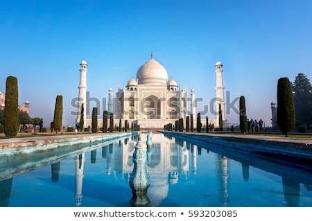 toeristen · mausoleum · Taj · Mahal · Indië · hemel · gras - stockfoto © imagedb