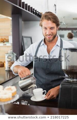 güzel · barista · süt · fincan · kahve - stok fotoğraf © wavebreak_media
