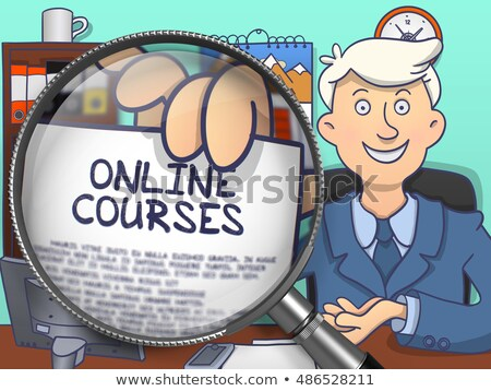 Online Courses through Magnifying Glass. Doodle Style. Stock photo © tashatuvango