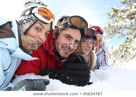Cztery ludzi narty snowboardzie ilustracja krajobraz Zdjęcia stock © bluering