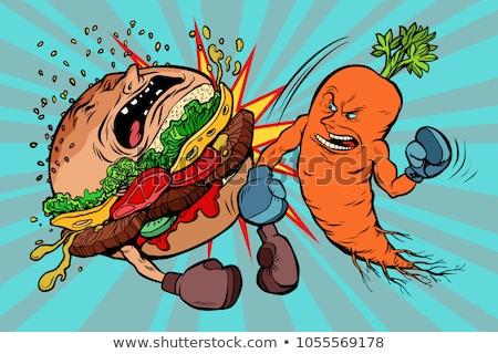 Cenouras burger vegetarianismo vs fast-food Foto stock © rogistok