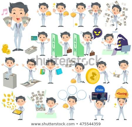 tuxedo Silver short hair man money Stock photo © toyotoyo